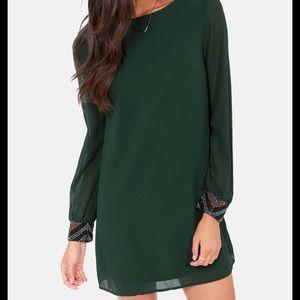 Lulu's dark green shift dress